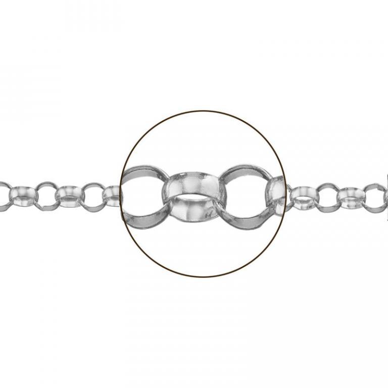 Cadena plata rolo media caña