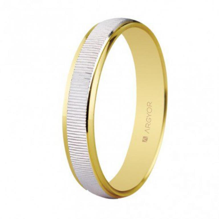 Alianza de boda dos oros, labrada brillo de 3 mm