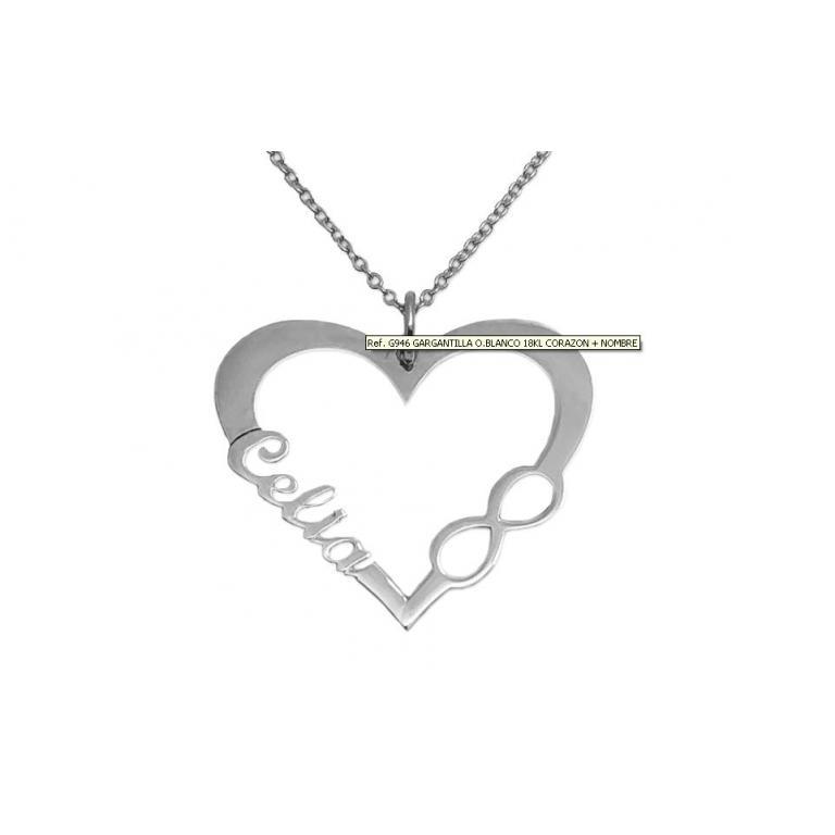 Cadena + Colgante corazón en Oro Blanco de 18 Kl. personalizable con un nombre