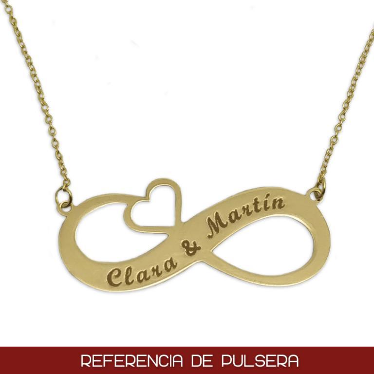 Pulsera infinito y corazón en Oro de 18 Kl. personalizable con grabado de nombres
