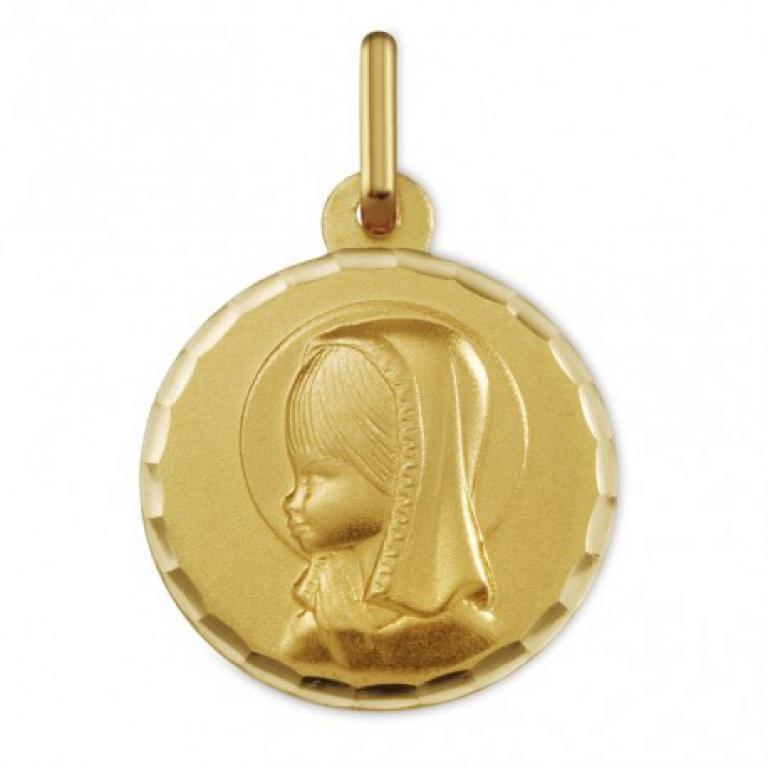 Medalla oro virgen niña bisel ondas