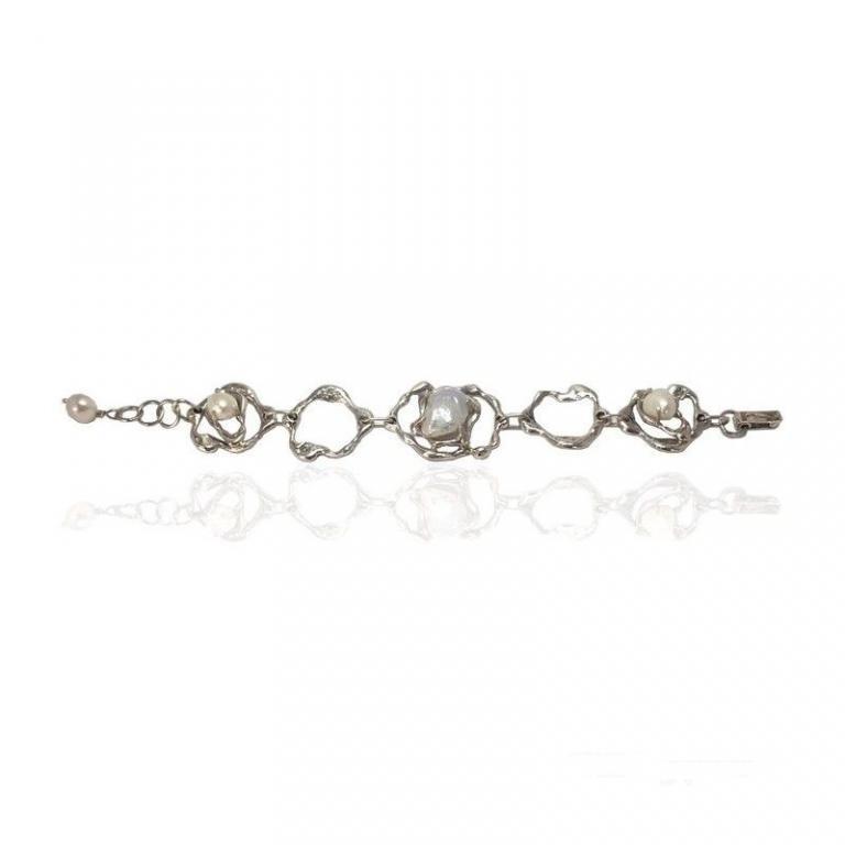 Altana pulsera plata barroca perlas